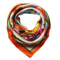 Wholesale Digital Print Silk Scarves - 90cm*90cm New Fashion Silk Square Scarf Digital painting impressionist flowers square scarf women scarves wholesale