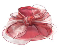 Donne Fascinator Bowknot Oranza garza Cappello Kentucky Derby Chiesa Cappello abito da sera cappuccio da sposa Brim nuziale largo Cocktail Party regalo Cappello per il sole