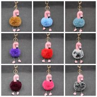 Wholesale Bird Keychains - Cartoon Flamingo Keychain Lovely Fluffy Artificial Rabbit Fur Ball Key Chain Animal Bird Pompom for Women Bag parts 500pcs OOA2606