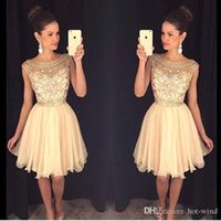 Wholesale Chiffon Stones Gown - 2017 New Scoop Neck Short Chiffon Homecoming Dresses Sheer Beaded Stones Top Mini Short Party Prom Dresses Cocktail Gowns for Girls BA3501