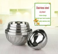 Wholesale rice steel bowl - Thickening Breaking-Proof Easy To Wash Double Layer Stainless Steel Rice Bowl Heat Insulation And Anti Scald Bowl for children Lily Bowl