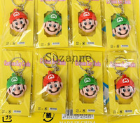 Wholesale Mario Action Key Chains - 100Pcs Super Mario Bros Key chains action figures Anime Doll Classic toys gift Free shipping