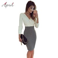Wholesale Wholesale Work Dresses For Women - Wholesale-Sexy V Neck Long Sleeve Black and White Dress Pencil Women Formal Dresses for Work Party Women Tunic Midi Bodycon Office Dress