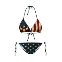 Wholesale Sexy Design Bikini - Sexy New Design Women 3D US Flag Pirate Printed Bikini Bathsuilt Halter American Beachwear Swimsuit Free Shipping