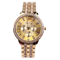 200pcs Diamond AAA Watch Geneva Stainless Steel Watch Relógios de pulso de metal para mulheres Moda Luxo Gold Crystal Quartz Rhinestone Lady