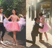 Wholesale Pretty Pictures Flowers - 2016 Arabic Pink Short Homecoming Dresses Flower Fairy Cheap A Line Sheer Tulle vestidos de Festa Hollow Back Pretty 8th Graduation Gowns