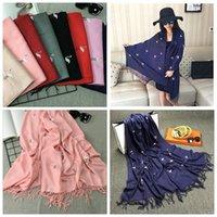 Wholesale Hot Cranes - Flamingo Bird Embroidery Women Cashmere Scarf Luxury brand designer scarf Hot crane Long Shawl Winter warm scarves pashmina shawl YYA446