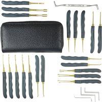 auto schloss opener pick großhandel-GOSO 24-teiliges Werkzeugset zum Öffnen von Schlössern Entriegeln von Lockpicks-Werkzeugen Auto-Schlossöffner Schlosserwerkzeuge mit Ledertasche