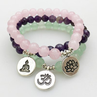 Wholesale SN1140 Fashion Women s Bracelet Amethyst Green Aventurine Rose Quartz Mala Bracelets Lotus Ohm Buddha Bracelet