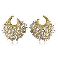 Wholesale Unusual Weddings - 2016 New Absolutely Gorgeous Earrings! Gold plate With White Cubic Zirconia Large Unusual earrings