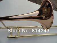 Wholesale copper trombones for sale - Group buy Brand Bach B Flat Tenor Trombone Perform Musical Instrument Gold Lacquer Surface Phosphor Copper Professional Bb Trombone With Case