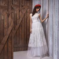Wholesale Sleeveless Jewel Neckline Wedding Dresses - Vestido de noivas A line Lace Dot Tulle Wedding Dresses Romantic Illusion Neckline Custom Made Real Photo Bridal Gown
