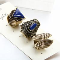 ingrosso gli anelli di whosale-Whosale Hot Vintage Ring Set Punk Argento placcato in oro Anelli di pietra per donne / uomini anello di barretta 3 PZ Anello Set di vendita più 2016New Fashion