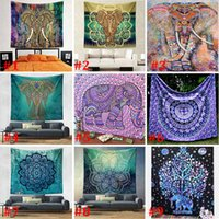 ingrosso tiro boemo-150 * 130 centimetri nuovi arazzi bohemien Mandala Beach Arazzo Hippie Tiro Yoga Mat asciugamano elefante pavone poliestere scialle bagno asciugamano WX9-113