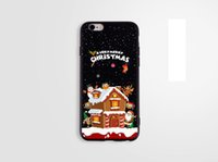 Wholesale merry christmas green - For apple iphone 7 plus iphone 6S TPU box cartoon Santa Merry Christmas gift Christmas tree black cell phone cases protector