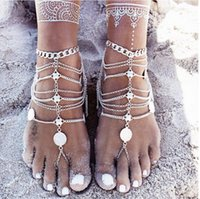 Wholesale Wholesale Jewelry Embellishments - 2016 Fashion Plated Aolly Anklets Jewelry Retro Stainless Steel Jewelry Chain Bare Feet Sandals Embellishment Beach Wedding Accessories