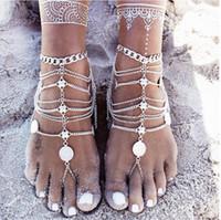 sandálias de joalheria para casamento venda por atacado-2016 Moda Banhado Aolly Tornozeleiras Jóias Retro Aço Inoxidável Cadeia de Jóias Nuas Pés Sandálias Enfeite Praia Acessórios Do Casamento