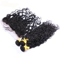 Wholesale Hot Water Hair Extensions - Hot Selling Water Wave Brazilian Virgin Hair Bundles With Frontal Ear to Ear Full Lace Frontals With Hair Extensions For Black Woman