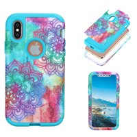 Wholesale Armor Painting - Hybrid Armor 3in1 Heavy Duty Case Paint flower Marble back Cover Shockproof Phone Covers PC Silicone Shockproof Protection For iphone X