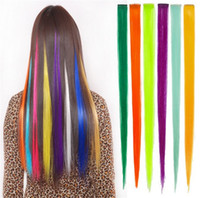 Wholesale Hair Streaks Color - Hair Piece Harajuku Punk Dyeing Fluorescence Multicolor Streaked Hair Piece Can Be Ironing Shear Clip Hair Ornaments Hairpieces Slice