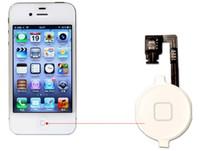 iphone blanco 4g al por mayor-Botón del menú de inicio Clave de la tapa Cable flexible Soporte de la horquilla Conjunto de montaje para iPhone 4 4G 4S CDMA Negro Blanco Pieza de repuesto 2 piezas / lote