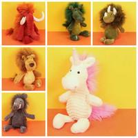 Wholesale soft toy crocodiles - 6 Styles 38cm INS Plush Unicorn Toys Cartoon Wild Boar Dinosaur Crocodile Lion Elephants Stuffed Animal Soft Toys Kids Gifts CCA8324 50pcs