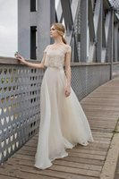 Wholesale Simply Short Chiffon Dresses - 2016 Wedding Dresses Latest Simply Bateau Sleeveless Sweep Train Lace Tulle A Line Two Pieces Bridal Gowns