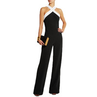 Wholesale Overalls Coveralls - Women Playsuits Bodysuits New 2017 Jumpsuit womens overall Black white stitching Sling Halter sexy fashion Plus Size Pants Coveralls