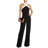 artı boyutlu oynayanlar toptan satış-Kadın Playsuits Bodysuits Yeni 2017 Tulum womens genel Siyah beyaz dikiş Sling Halter seksi moda Artı Boyutu Pantolon Tulumlar