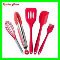 Wholesale 5pcs Silicone Baking Tools Set with Stainless Steel Handle For Nonstick Pots Heat Resistant Baking Tools