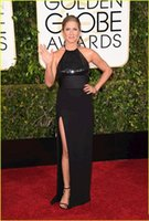 Wholesale Jennifer Aniston Black Dress - 2017Golden Globe Awards Jennifer Aniston Evening Dresses Sexy Black Halter Evening Gown Sequined Bodice High-Slitted Red Carpet Dress