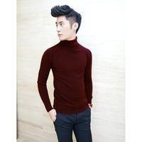 Wholesale Mens Gray Sweater - Wholesale-2016 new brand fashion men's sweaters korean sweater men turtleneck men full sleeve solid color thick wool blend mens pullover