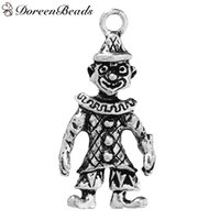 "Wholesale Antique Clown - 3D Pendants Circus Clown Antique Silver 3.3cm x1.6cm(1 2 8"" x 5 8"")- 3.2cm x1.6cm(1 2 8"" x 5 8""), 10 PCs 2016 new Free shipping jewelry maki"