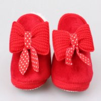 Wholesale Baby Girl Winter Walker Shoes - 1 Pair Red Cute Hot Sweet Winter Baby Shoes Cotton Newborn Boys Girls Shoes Keep Warmest Snow First Walkers For Infant Kids