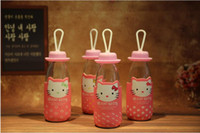 Wholesale Mini Drinking Glasses - 2016 mini kitty water bottle with Cloth cover 300ml colorful glass bottle the boy and girl's favorite