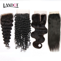 Wholesale Kinky Curly Hair Blonde - Brazilian Lace Closure 4x4 Size Brazilian Straight Body Wave Loose Deep Kinky Curly Virgin Human Hair Closure Pieces Natural Color Closures