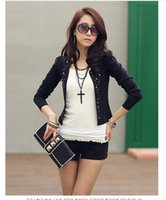 Wholesale Long Sleeve Shrug Xl - S~L New Coat Ladies Long Sleeve Shrug Suits small Jacket Fashion Cool Women's Rivet Coat Black And White color Free shipping