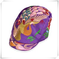 Wholesale Sun Cap China - 2016 HOT Fashion hat folk style duck tongue Hat Lady peacock China traditional handmade hat peaked cap