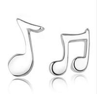 Wholesale music notes earrings resale online - Music Note Stud Earrings For Women Layer White Gold Overlay Sterling Silver Stud Earrings For Women Bohemian Jewelry