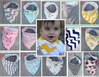 Wholesale Wholesale Printed Animal Scarves - New baby infant triangle Bandana bibs Kids Polka Dot Wave bibs burp cloths Pure cotton double layer bibs bandana scarf KSF12
