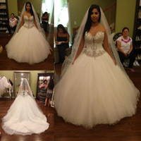 Wholesale White Corset Victorian Ball Gowns - 2016 Vestido De Noiva Ball Gown White Tulle Wedding Dresses with Crystal Beads Victorian New Corset Long Bridal Gowns