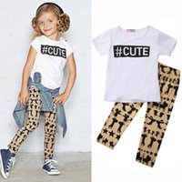 Wholesale Outfit Mouse - Cute baby girls outfits animal cat mouse giraffe rabbit pant + T-shirt 2pc Outfit 1-6Y preppy school clothes casual sport clothing wholesale