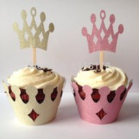 Barato Invólucros De Pôster Atacado De Glitter-Venda por atacado Glitter Princess Crown Cupcake Wrappers titulares casamento Dia dos Namorados bridal shower cake wrapper with toppers set Supplies