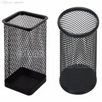 Wholesale Black Desk Organizers - Wholesale-Black Metal Mesh Style Pen Pencil Holder Office Desk Organizer Container