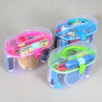 Barato Estojo De Fita Métrica-Kit de costura doméstico portátil Thread Threader Needle Tape Measure Scissor Thimble Storage Box Case