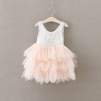 Vente au détail Été Nouvelle fille Robe Lace Gauze Princesse Veste Robe Fille Party Sundress Layered Dress Enfant Vêtements E16900