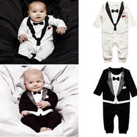 Wholesale Baby Tuxedo Rompers Overalls - 2016 newborn Baby boy Tuxedo Rompers Long Sleeve Gentleman One-Pieces Toddler Bodysuits Coverall Baby Overalls 4 size