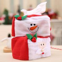 Wholesale Christmas Tissue Box Cover - Christmas Tissue Boxes High quality Car Seat Bag Pocket Tissue Storage Bag Santa Claus Snowman Tissue Box Cover