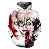 Wholesale Hoodies Joker - New Fashion Harley Quinn Joker Prints Hooded Sweatshirt Men Women Long Sleeve Outerwear Pullovers 3D Hoodies LMS076