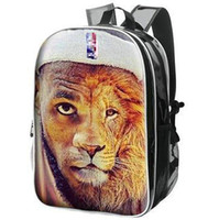 Wholesale photo lions - Lion king backpack LeBron James day pack Designer photo school bag Basketball packsack Quality rucksack Sport schoolbag Outdoor daypack